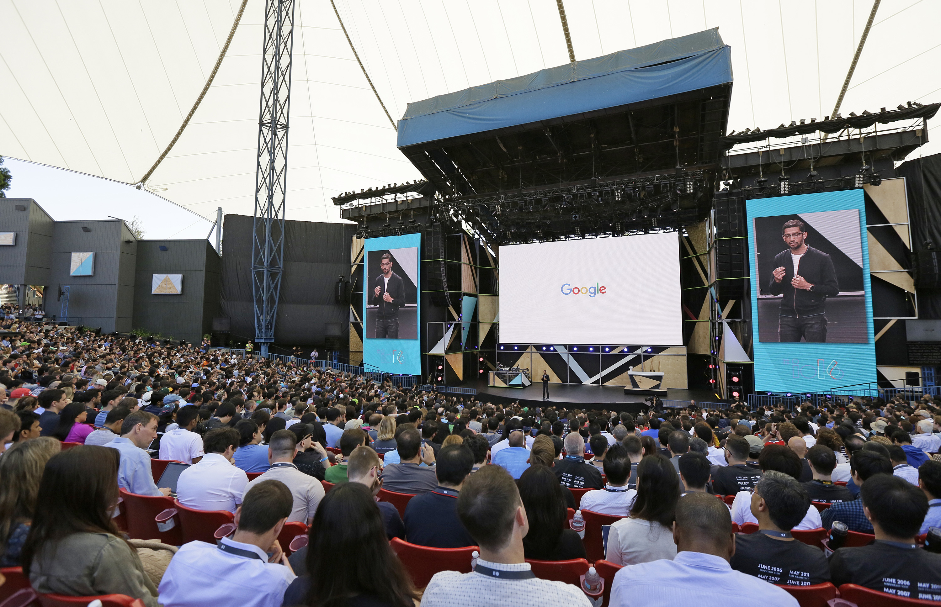 Google CEO Sundar Pichai gives closing remarks at the end of the keynote address of the Google I/ O conference